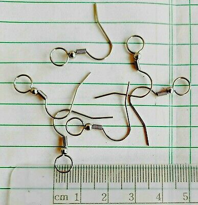 Stainless Steel Ear Wires ~ French Hooks with Ball + Coil ~Large 7mm end Loop