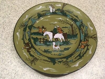 Vintage 1908 Buffalo Pottery Deldare Ware Plate  Fallowfield Hunt The Start