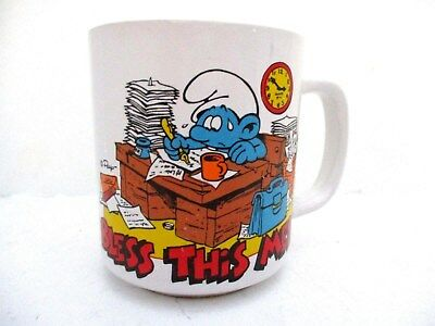 Vtg Smurfs Mug Bless This Mess  1981 Wallace Berrie Collectible Coffee Cup 12oz