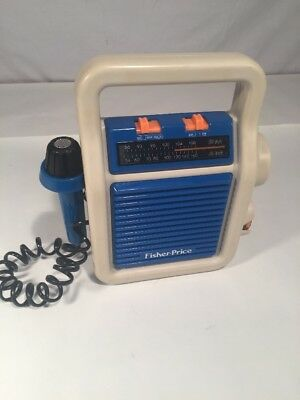 Vintage 1984 Fisher Price Sing-Along Am/fm Radio With Mic #3805 Tested Works!