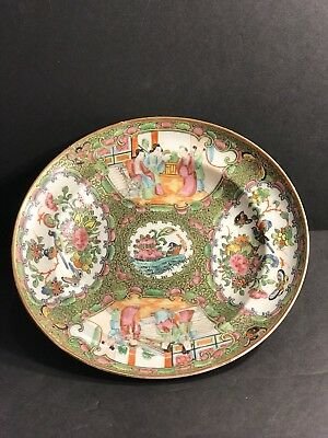 An Antique Chinese Qing Republic Rose Medaillon Porcelain Plate/ Charger