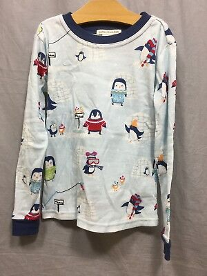 Pottery Barn Kids Blue Icy Penguin Tight Fit Pajamas Size 6