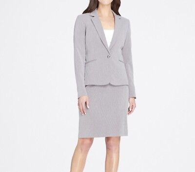 New Tahari Asl Women S Sz 18 Grey Pinstripe Skirt Suit Single Button