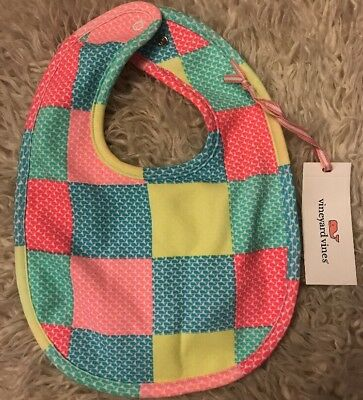 NEW Vineyard Vines Whaletail Patchwork Knit Baby Bib Pink Turquoise Gift 6-12 M