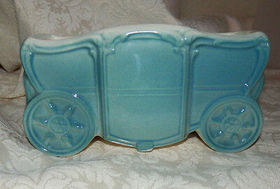 Old Vintage ROYAL COPLEY PLANTER Coach or Carriage Teal Blue