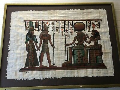 "Huge Signed Handmade Papyrus Egyptian Painting. 36""x 25"" (Image), 42 1/2"" x 31"""