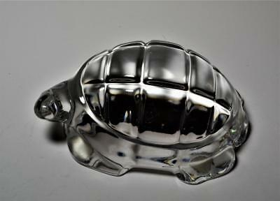 Baccarat France Art Glass clear cut crystal Turtle Figurine Paperweight flawless