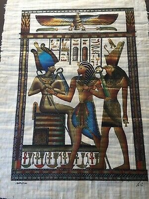 "Huge Handmade Papyrus Egyptian Painting, Signed, 25""x 36"" (Image),31"" x 42 1/2"""