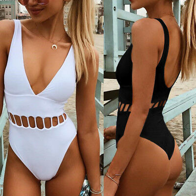 Women One-Piece Swimsuit Bandage Bikini Push-up Backless Bathing Swimwear AY