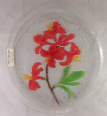 "Fused Art Glass RED LILIES LILY FLOWER PLATE Signed Travis 11 3/4"" NWT New"