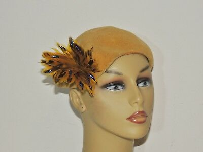 Vintage 1940's D'Yourville Gold  Hat Beautiful Feather / Iridescent Beads