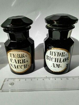 2 x antike Apotheker Flasche aus dem 19. Jh. HYALITHGLAS Glass apothecary bottle