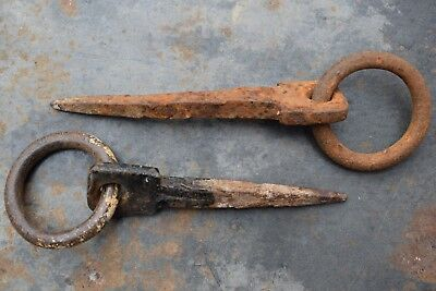 Pair of Old Reclaimed Vintage Industrial Wrought Iron Beam Hooks