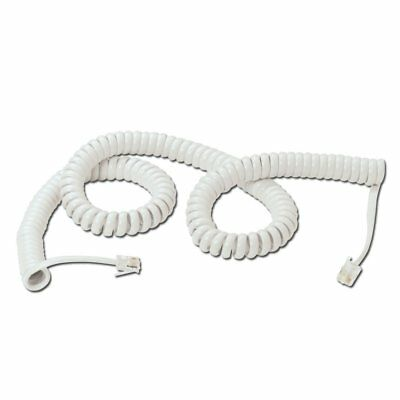 TELEPHONE PHONE CURLY HANDSET LEAD CABLE CORD RJ10 PLUG White 1M