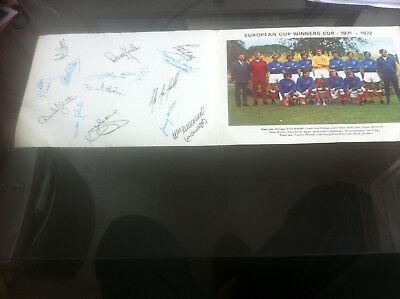 Rangers Ecwc Winners Team Photo With Printed Autographs