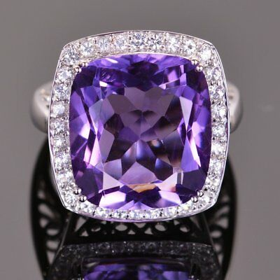 3Ct Cushion Cut Amethyst 14k White Gold Over Round Diamonds Accents Wedding Ring