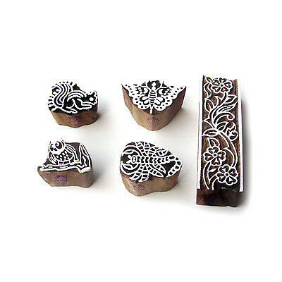 Squirrel and Scorpio Traditional Pattern Wood Block Print Stamps (Set of 5)