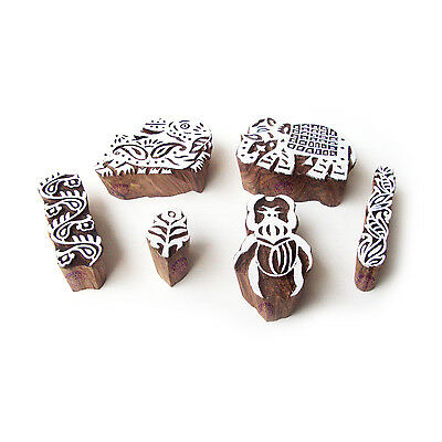 Rabbit and Scorpio Handcrafted Motif Block Print Wood Stamps (Set of 6)