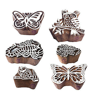 Abstract Shapes Scorpio and Owl Wood Blocks for Printing (Set of 6)
