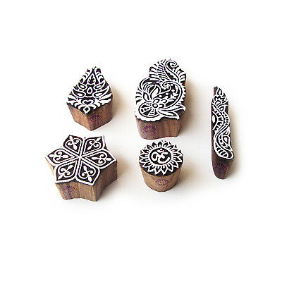 Hexa and Religious Traditional Motif Wood Block Stamps (Set of 5)