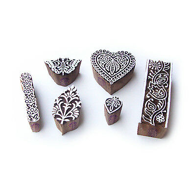 Butterfly and Heart Decorative Designs Wood Blocks for Printing (Set of 6)