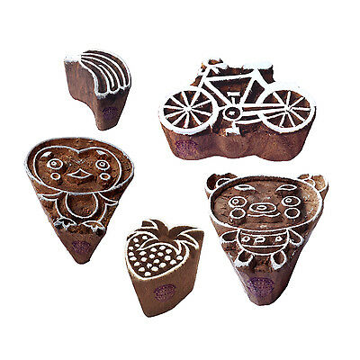 Urban Motif Kid and Bicycle Wood Stamps for Printing (Set of 5)