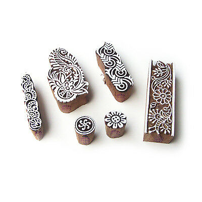 Border and Floral Hand Carved Pattern Wood Block Print Stamps (Set of 6)
