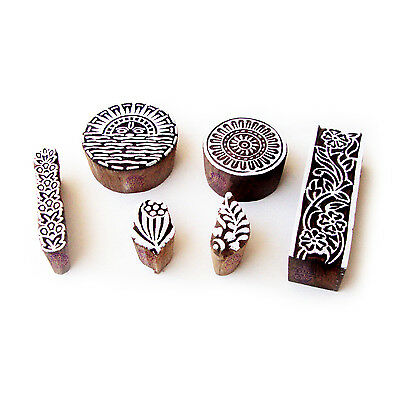 Sun and Round Traditional Motif Wood Print Stamps (Set of 6)