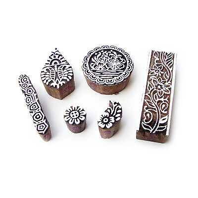 Assorted and Floral Artistic Pattern Wood Stamps for Printing (Set of 6)