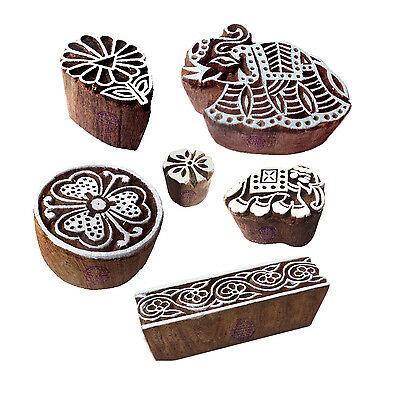Handcrafted Shapes Floral and Elephant Wood Blocks for Printing (Set of 6)