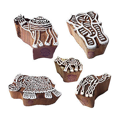 Ornate Motif Elephant and Camel Wood Stamps for Printing (Set of 5)