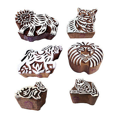 Oriental Shapes Animal and Assorted Wood Blocks for Printing (Set of 6)