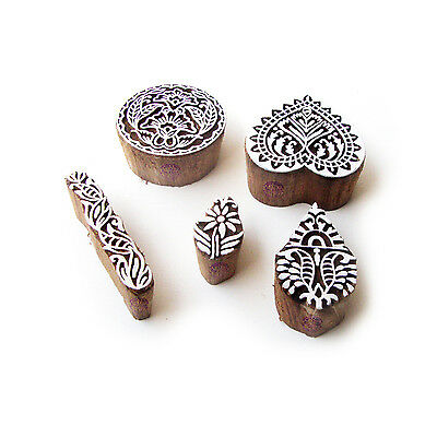 Round and Heart Contemporary Motif Block Print Wood Stamps (Set of 5)