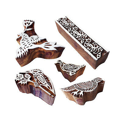 Abstract Designs Border and Bird Wood Print Stamps (Set of 5)