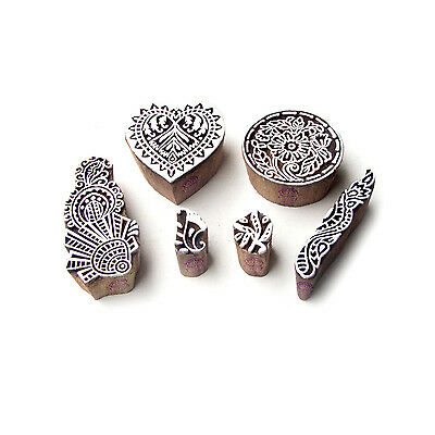 Heart and Round Contemporary Pattern Wood Block Print Stamps (Set of 6)