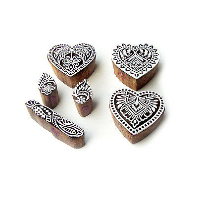 Heart and Floral Exclusive Pattern Wood Stamps for Printing (Set of 6)