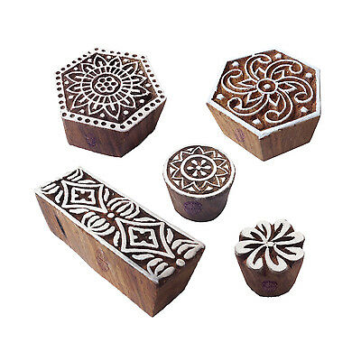 Innovative Designs Hexagon and Round Wood Print Stamps (Set of 5)