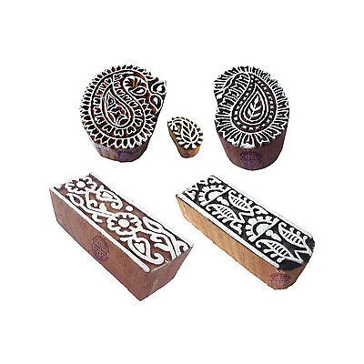 Exclusive Motif Paisley and Border Wood Stamps for Printing (Set of 5)