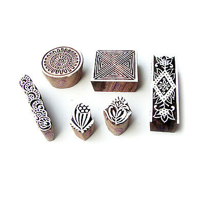 Round and Square Asian Motif Wood Print Stamps (Set of 6)