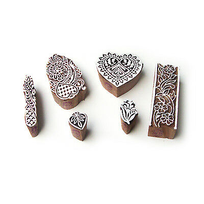Heart and Floral Handmade Motif Block Print Wood Stamps (Set of 6)