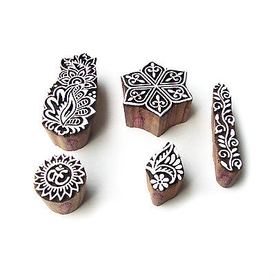 Hexa and Religious Elegant Pattern Wood Stamps for Printing (Set of 5)