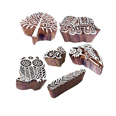 Attractive Motif Animal and Tree Wood Stamps for Printing (Set of 6)