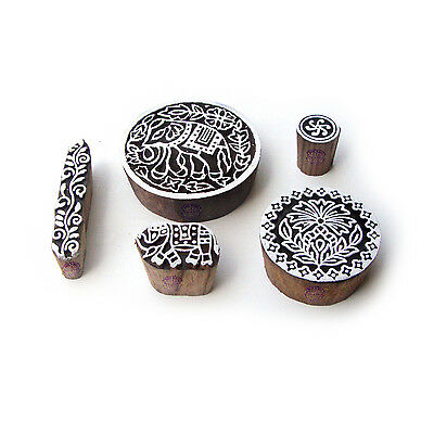 Elephant and Round Handcrafted Motif Block Print Wood Stamps (Set of 5)