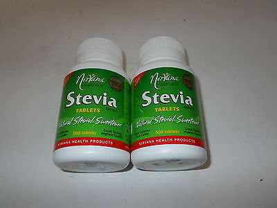 6 x 500 Tablets NATURAL STEVIA SWEETENER Zero Calories NIRVANA ORGANICS 3000 tab