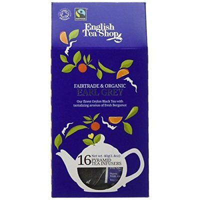 English Tea Shop Organic Fairtrade Earl Grey Black 16 Pyramid Tea Infusers 30 g