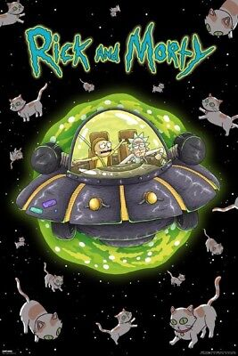 Rick And Morty Show Cats In Space Ufo Poster (61X91Cm) New Print Art