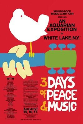 WOODSTOCK 3 DAYS OF PEACE RED POSTER (61x91cm)  PICTURE PRINT NEW ART