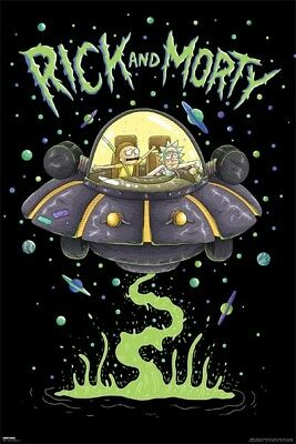 (Laminated) Rick And Morty Show Space Ship Ufo Poster 61X91Cm New Print Art
