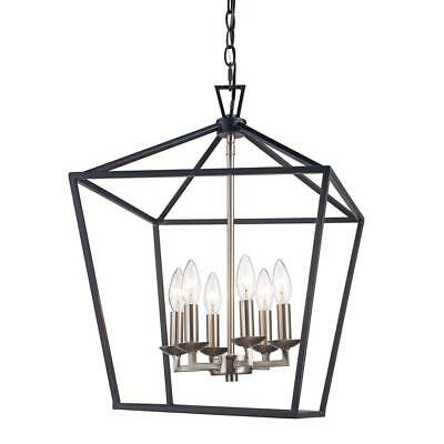Bel Air Lighting Lacey 6 Light Black And Brushed Nickel Pendant Awesome Design