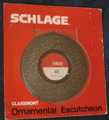 Schlage Ornamental Escutcheon #621 Claremont Design Old Iron NOS 3 Available
